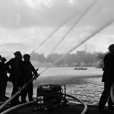 Auxiliary Fire Service exercise in Hyde Park, 1957-Ted Heanley M.B.E. D.F.C.-Photographic Print