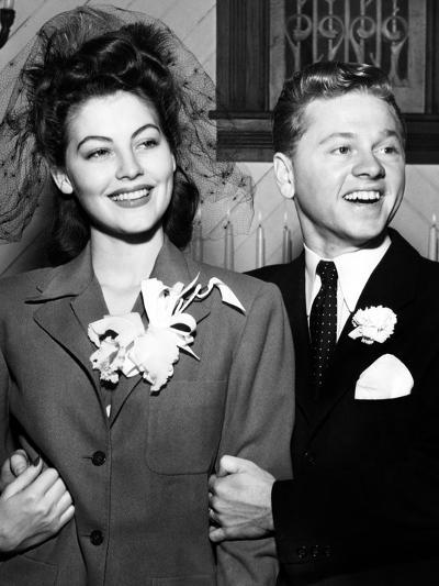 Ava Gardner and Mickey Rooney After Their Wedding, January, 1942--Photo