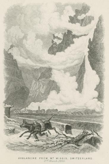 Avalanche from Mont Wiggis, Switzerland--Giclee Print