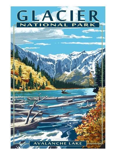 Avalanche Lake - Glacier National Park, Montana-Lantern Press-Art Print