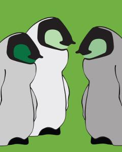 Baby Penguins in Green by Avalisa