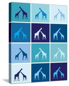 Blue Giraffe Squares by Avalisa