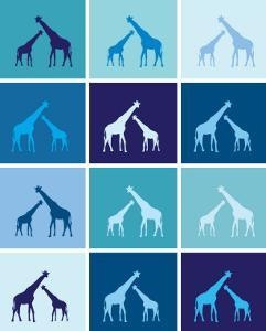 Blue Giraffe Squares by Avalisa