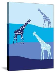 Blue Giraffes on Blue Plains by Avalisa