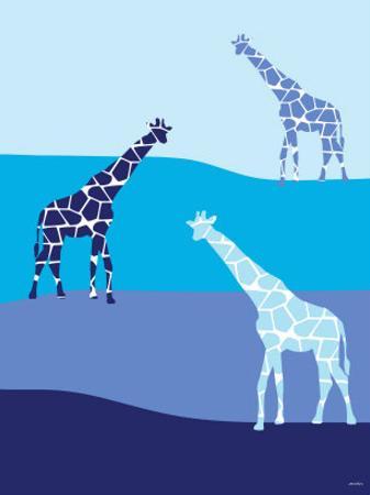 Blue Giraffes on Blue Plains