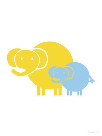Blue Yellow Baby Elephant
