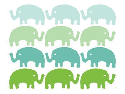 Green Elephant Family by Avalisa