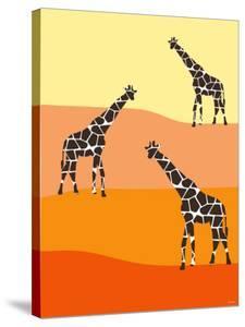 Orange Giraffe Family by Avalisa