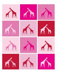 Pink Giraffe Squares by Avalisa