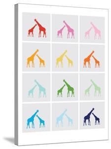 Rainbow Giraffe Squares on Grey by Avalisa