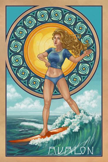 Avalon, New Jersey - Art Nouveau Surfer-Lantern Press-Wall Mural