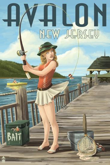 Avalon, New Jersey - Fishing Pinup-Lantern Press-Art Print