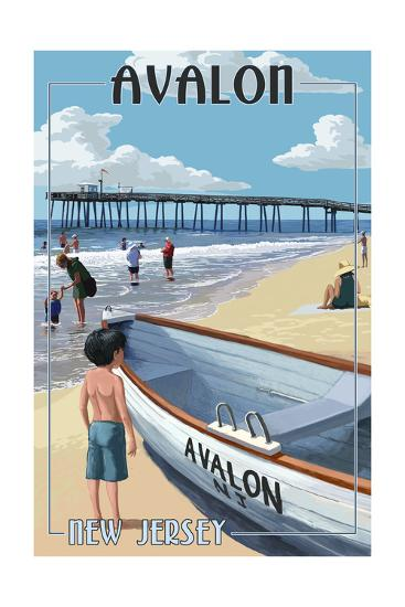 Avalon, New Jersey - Lifeboat-Lantern Press-Art Print