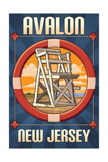 Avalon, New Jersey - Lifeguard Chair-Lantern Press-Art Print