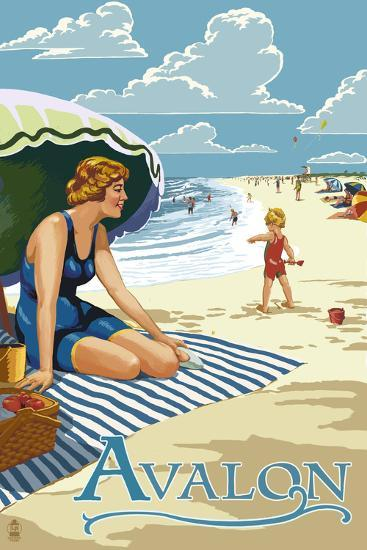 Avalon, New Jersey - Woman on Beach-Lantern Press-Wall Mural