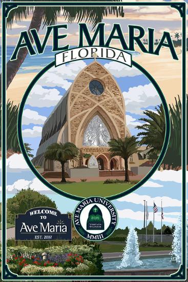 Ave Maria, Florida - Montage-Lantern Press-Wall Mural