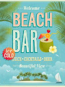 Vintage Beach Bar Poster by avean