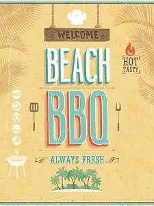 Vintage Beach Bbq Poster by avean