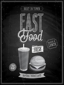 Vintage Fast Food Poster Chalkboard by avean
