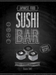Vintage Sushi Bar Poster - Chalkboard by avean