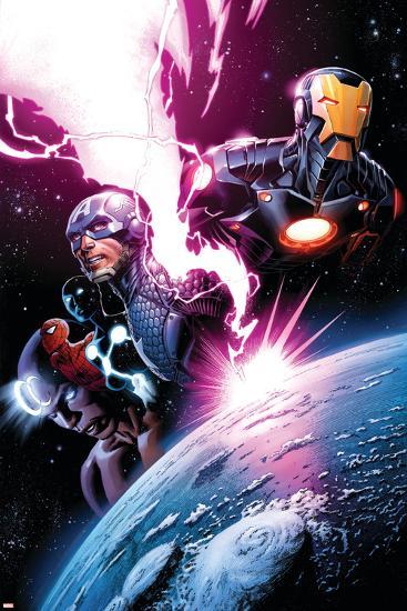 Avengers #7 Featuring Iron Man, Captain America, Spider-Man, Night Mask, Devoux, Tamara-Dustin Weaver-Art Print