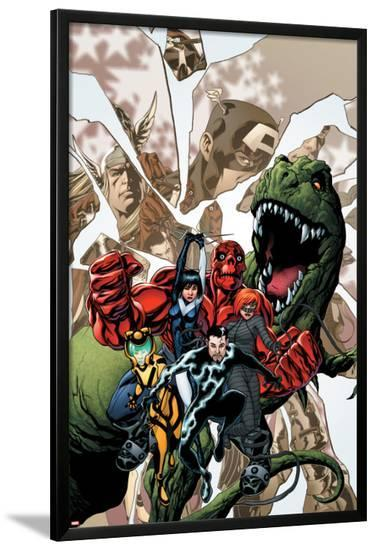 Avengers Academy No.12 Cover: Striker, Veil, Hazmat, Finesse, Mettle, and Reptil-Mike McKone-Lamina Framed Poster