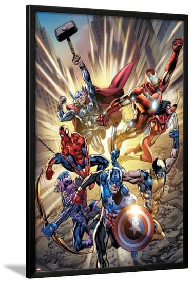 Avengers: Age of Ultron No.0.1 Cover: Captain America, Wolverine, Hawkeye, Spider-Man and Others-Bryan Hitch-Lamina Framed Poster