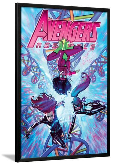 Avengers Assemble #21 Cover: Spider Woman, Black Widow, Spider-Girl-Jorge Molina-Lamina Framed Poster