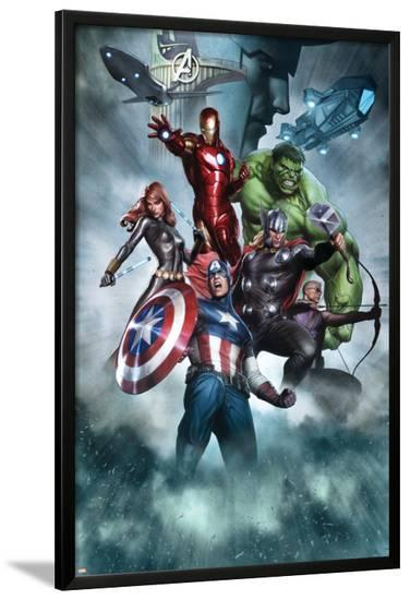 Avengers Assemble Artwork with Thor, Hulk, Iron Man, Captain America, Hawkeye, Black Widow, Loki--Lamina Framed Poster