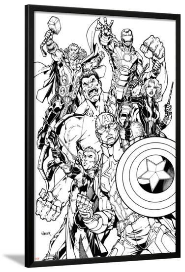 Avengers Assemble Inks Featuring Captain America, Hawkeye, Hulk, Black Widow, Iron Man, Thor--Lamina Framed Poster