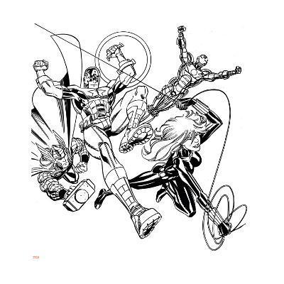 Avengers Assemble Inks Featuring Iron Man, Captain America, Thor, Black Widow--Art Print