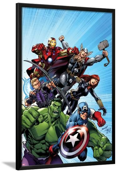 Avengers Assemble No.1 Cover: Captain America, Hulk, Black Widow, Hawkeye, Thor, and Iron Man-Mark Bagley-Lamina Framed Poster