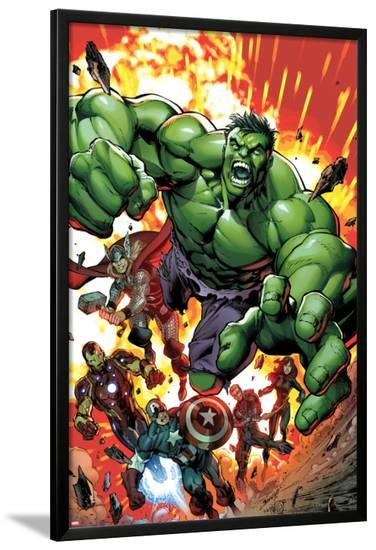 Avengers Assemble No.2 Cover: Hulk, Thor, Iron Man, Captain America, Hawkeye, and Black Widow-Mark Bagley-Lamina Framed Poster