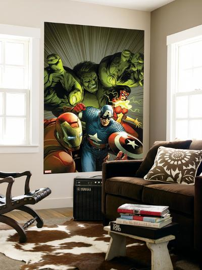 Avengers Assemble No. 9: Captain America, Hulk, Iron Man, Spider Woman--Wall Mural