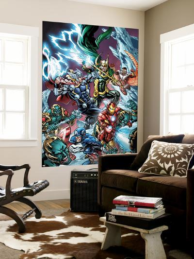 Avengers Assemble Panel Featuring Captain America, Iron Man, Thor, Loki, Falcon--Wall Mural