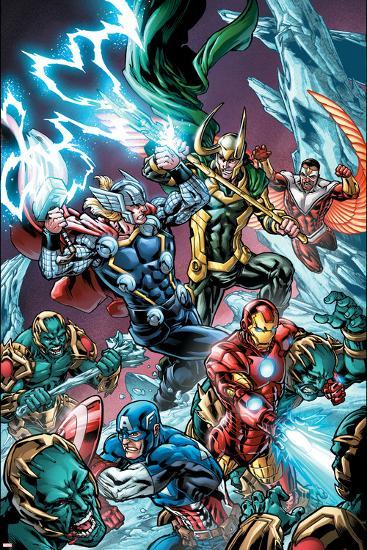 Avengers Assemble Panel Featuring Captain America, Iron Man, Thor, Loki, Falcon--Art Print