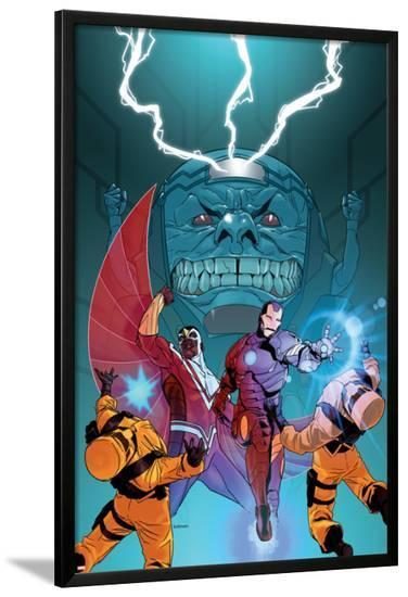 Avengers Assemble Panel Featuring Falcon, Iron Man, A.I.M., M.O.D.O.K--Lamina Framed Poster