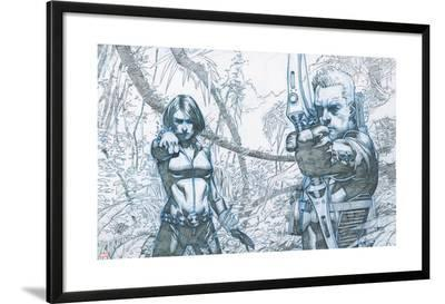 Avengers Assemble Pencils Featuring Black Widow, Hawkeye--Lamina Framed Poster