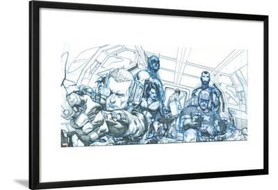 Avengers Assemble Pencils Featuring Hawkeye, Captain America, Iron Man, Thor, Black Widow--Lamina Framed Poster