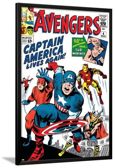 Avengers Classic No.4 Cover: Captain America, Iron Man, Thor, Giant Man and Wasp-Jack Kirby-Lamina Framed Poster