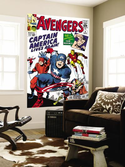 Avengers Classic No.4 Cover: Captain America, Iron Man, Thor, Giant Man and Wasp-Jack Kirby-Wall Mural