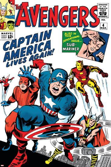 Avengers Classic No.4 Cover: Captain America, Iron Man, Thor, Giant Man and Wasp-Jack Kirby-Art Print
