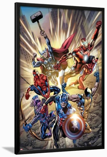 Avengers No.12.1 Cover: Captain America, Hawkeye, Wolverine, Spider-Man, Iron Man, and Others-Bryan Hitch-Lamina Framed Poster