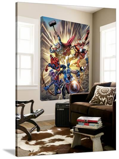 Avengers No.12.1 Cover: Captain America, Hawkeye, Wolverine, Spider-Man, Iron Man, and Others-Bryan Hitch-Loft Art