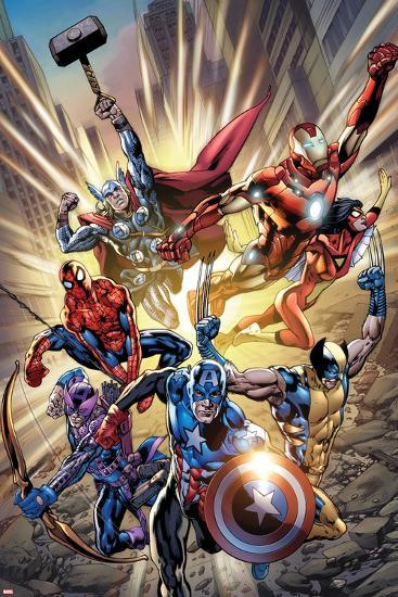 Avengers No.12.1 Cover: Captain America, Hawkeye, Wolverine, Spider-Man, Iron Man, and Others-Bryan Hitch-Poster