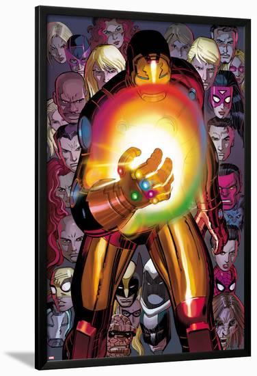 Avengers No 12: Iron Man with the Infinity Gauntlet Lamina Framed Poster by  John Romita Jr    Art com