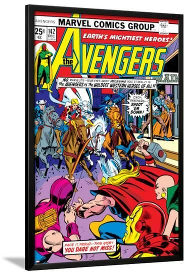 Avengers No.142 Cover: Thor, Hawkeye, Iron Man, Rawhide Kid, Kid Colt and Avengers-George Perez-Lamina Framed Poster