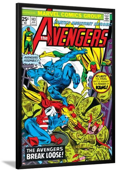 Avengers No.143 Cover: Beast, Captain America, Iron Man, Vision and Avengers-George Perez-Lamina Framed Poster