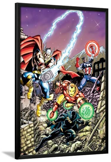 Avengers No.21 Cover: Captain America, Thor, Iron Man, Black Panther and Avengers-George Perez-Lamina Framed Poster