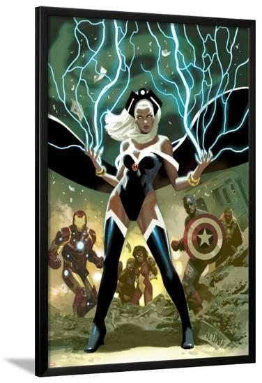 Avengers No.21 Cover: Storm, Captain America, and Iron Man-Daniel Acuna-Lamina Framed Poster